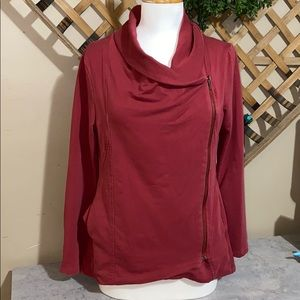 Asymmetric Zip up Red Jacket